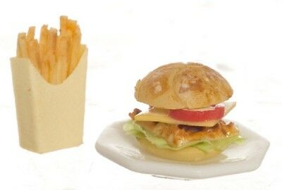 Dollhouse Miniature Hamburger & French Fries by Falcon Miniatures, used for sale  Beachwood