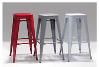 BARSTOOL METALLICA Grey or Red Perforated Iron Powder Coated