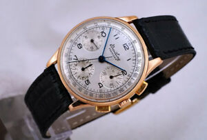 VINTAGE 18K BREITLING PREMIER 787 ROSE-GOLD MANUAL CHRONOGRAPH