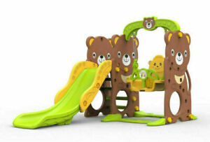 Toytexx 3 in 1 Bear Style Climber,Slide and Toddler Swing Set