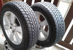 114.3 or 4.5 by 5 Alloy rims Plus 235x60x18 Snows -