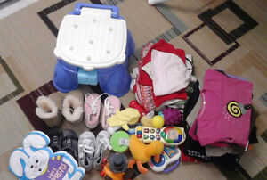 12 to 18 month baby girl  clothes+toys+shoes+potty seat