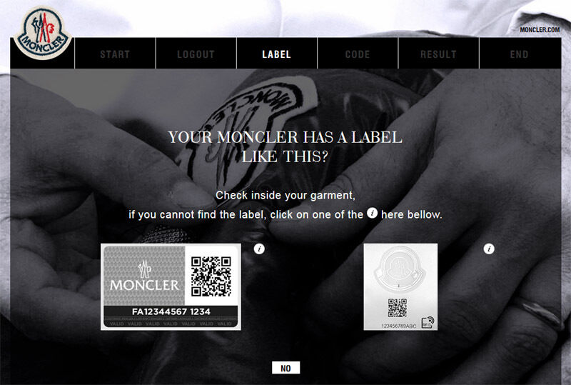 moncler authentique code