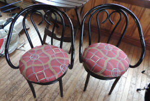 Two comfortable heavy/solid metal retro Bistro style chairs