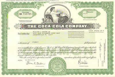 The Coca-Cola Company > 2012 Coke stock certificate