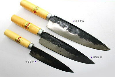 "BIGSALE 3Pcs Smithy Forged Carbon Rail Steel Knife 13.2"" 12"" 10"" SET Korean Made"