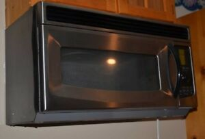 KITCHENAID above the stove stainless steel microwave with vent