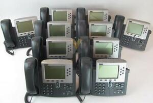 Lot of (10) Cisco Unified IP Phone 7960G - VoIP - (6) Lines - PoE - LCD Touch -  47-13480-01