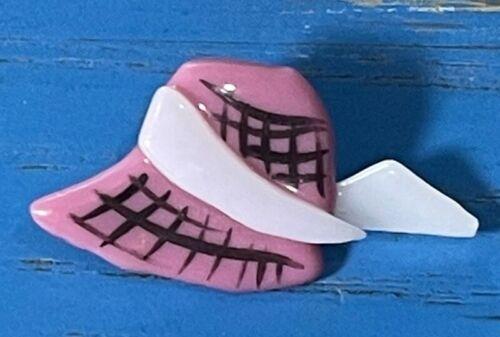 Studio Glass Button by Kay Ferguson, Fused Pink & White Sun Bonnet