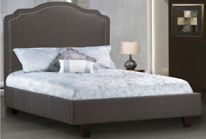 """""""MADE IN CANADA"""" Upholstered bed with camel headboard"""