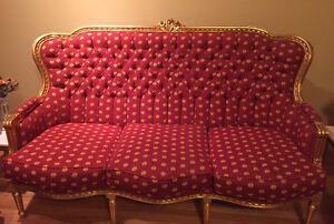 Red and Gold Couches for sale