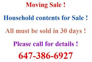 Moving Sale! Household contents!