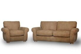 Modern 2 Piece Leather Sofa Set Including Armchair and Medium Sofa With Free Delivery