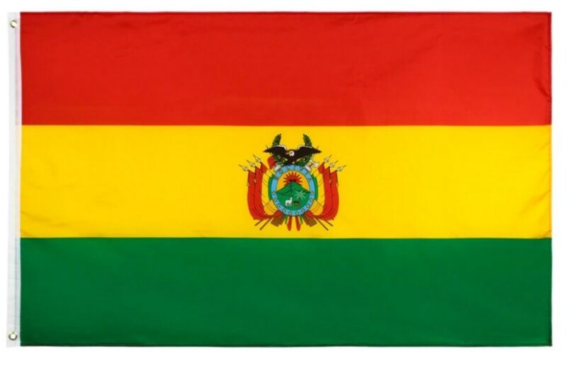 The national flag of Bolivia - Bolivian coat of arms, 3 x 4 ft BRAND NEW !