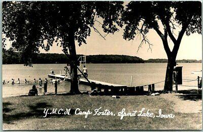 "SPIRIT LAKE, Iowa RPPC Photo Postcard ""YMCA Camp Foster"" Bathing Scene c1950s"