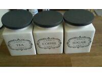 Tea, Coffee,Sugar jars