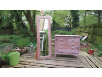 Art chest of drawers and mirror set