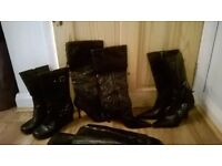 4 pairs of black ladies boots all size 5