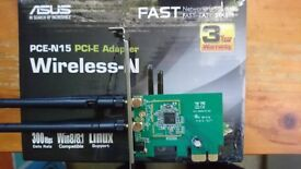 Asus PCE-N15 PCI-E x1 300mbps Wireless Card (Dual antenna, Windows/Linux Compatible)