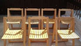 7 x folding hardwood chairs