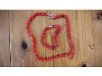 Red Coral Necklace and Bracelet Set