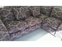 Brown patterned corner sofa