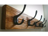 vintage rustic wooden coat rack clothes hangers iron hooks handmade wall mount