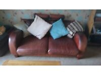 For Sale Aniline leather sofas in Dark Brown.