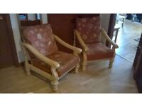 wooden frame sofa and 2 chairs conservatory / apartment