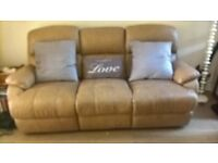 Soft tan leather sofa - very comfy!