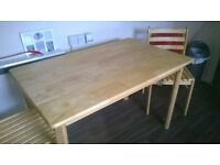 dining table and 4 chairs solid pine