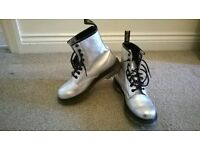 "Ladies Silver ""Dr Martin 1460"" boots"