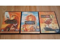 DISNEY CLASSIC FILMS DVDS! THE LION KING 1 2 AND 3! TRILOGY!