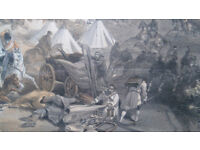 Antique Colnaghi Authrentic Series Lithograph, Charge of the heavy cavalry brigade