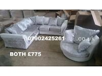 FREE FOOTSTOOL with Shannon crushed velvet couches