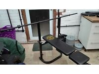 Weights Bench, 7.5kg bar, 40kg vinyl weights + 30kg rubber coated weights