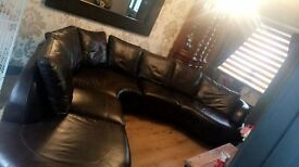 Large brown real leather corner sofa