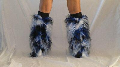 UV BLACK WHITE BLUE FLUFFY LEGWARMERS FURRY BOOT COVERS RAVE