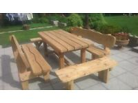 GARDEN SEAT & DINING TABLE , RUSTIC GARDEN FURNITURE , PATIO SET, BENCH .