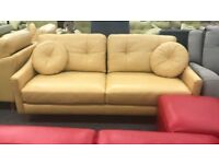 Yellow leather suite 3 seater 2 x Armchairs Footstools