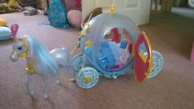 Cinderella carriage and horse with doll