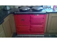 Gas fired Aga in bright red