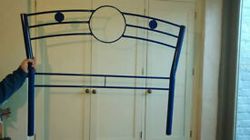 Blue metal Childs Bed with Mattress.