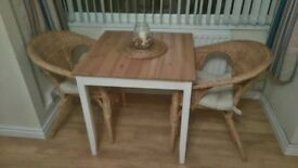 Table and 2 handwoven chairs