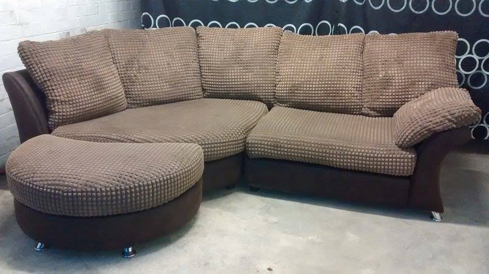 Charmant DFS CURVED / CORNER SOFA WITH HALF MOON POUFFE **delivery Avaliable**