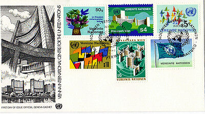 UNITED NATIONS 1979 ALL 6 DEFINITIVE VALUES FIRST DAY COVER GENEVA SHS