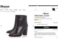 DUNE PRESTONN - BLACK High Heeled Leather Ankle Boot- Size UK 4/ 37 BRAND NEW- £35