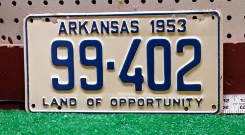 ARKANSAS - 1953 passenger license plate - beautiful CHOICE condition example