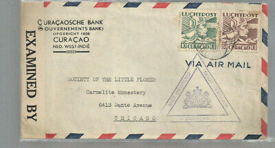 Censored airmail cover Willemstad Curacao (NWI) to Chicago ~WWII