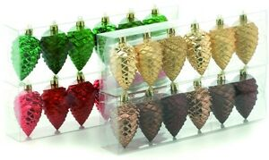 Set-of-6-Pine-Cone-Christmas-Tree-Shatterproof-Decorations-Various-Colours-NEW
